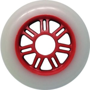 Blank 100mm 88a Scooter Wheel White and Red 7 Spoke Hub Scooter Wheel