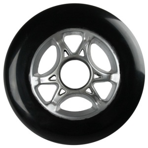 Blank 100mm 88a Scooter Wheel Black and Silver Cyclone Hub Scooter Wheel