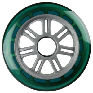 Blank 100mm 88a Scooter Wheel Green and Silver 7 Spoke Hub Scooter Wheel