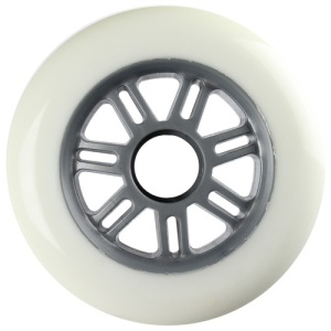 Blank 100mm 88a Scooter Wheel White and Silver 7 Spoke Hub Scooter Wheel
