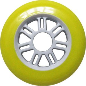 Blank 100mm 88a Scooter Wheel Yellow and White 7 Spoke Hub Scooter Wheel