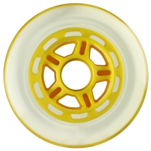 Blank 100mm 88a Scooter Wheel Clear and Yellow 5 Spoke Hub Scooter Wheel