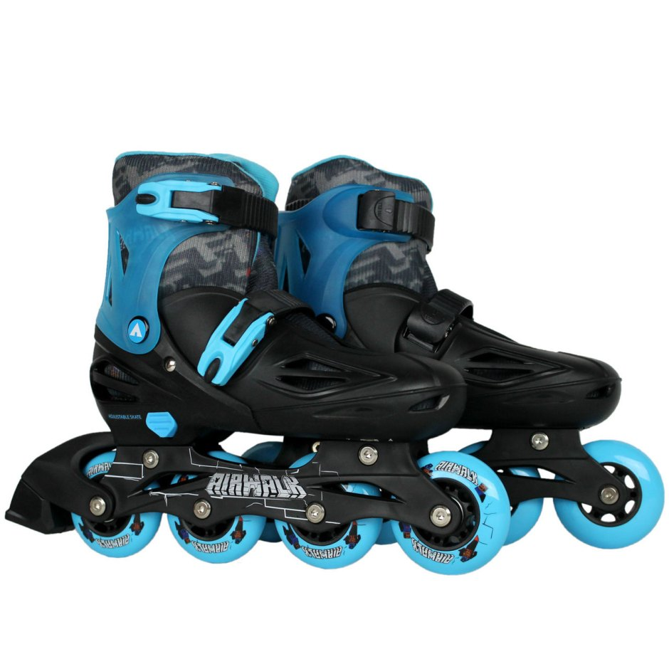 Pair of Airwalk Triton Black and Blue Inline Skates Sizes 3 - 7
