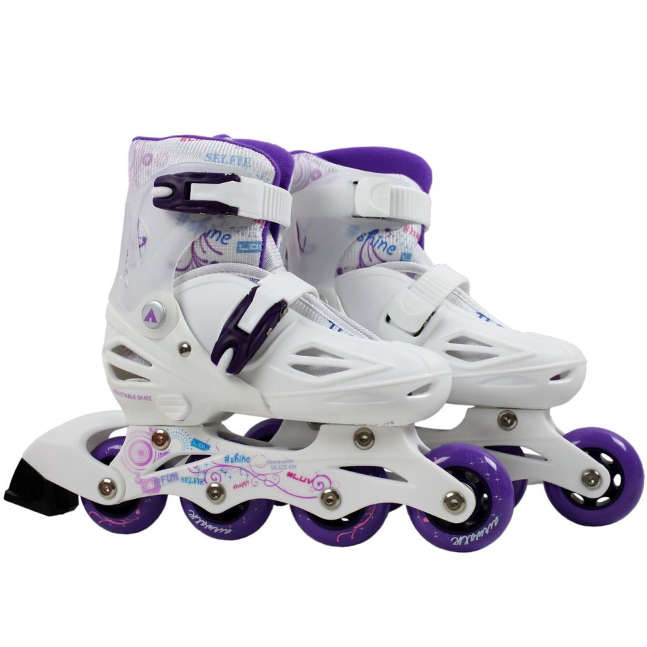 Pair of Airwalk Triton White and Purple Inline Skates Sizes 3 - 7