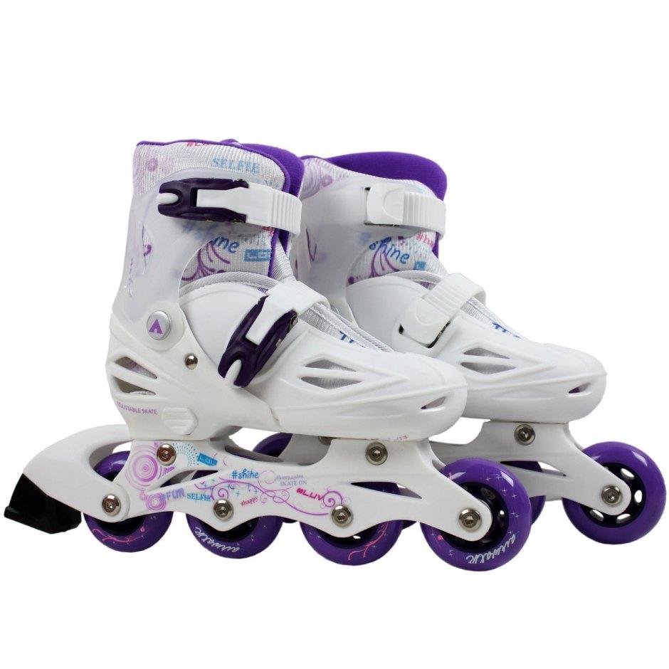 Pair of Airwalk Triton White and Purple Inline Skates Sizes 3 - 7